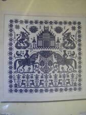 Permin Blue Sampler (Horses, Lions, Buildings) Cross Stitch Chart #154400- 331x3