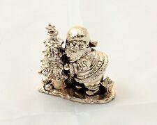Babbo natale placcato argento con albero  dimensioni statuina 7x7,5 cm.