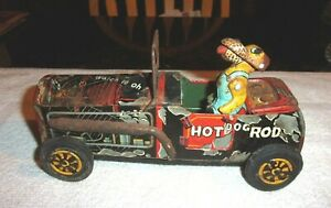 Rare Old Vintage Original Friction Hot Dog Rod By Masuo Working Condition 1950s
