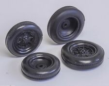 1/25 50's 60's Black indy resin tires Ribbed Speedway wheels set 2 fronts 2 rear