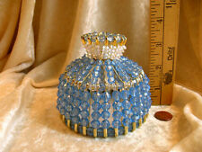 BEADED SHADE FOR WINDOW TABLE NIGHT LIGHT ELECTRIC CANDLE LIGHT SAPPHIRE