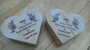 PAIR OF FRENCH VINTAGE STYLE HEART SHAPE BOXES