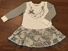 NAARTJIE GIRLS 3 3T STARS & STRIPES NETTING TRIM LACE PRINT NECKLACE DRESS WHITE