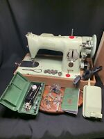 Singer 15 Sewing Machine Mint Green With Case