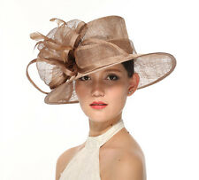 Church Kentucky Derby Carriage Tea Party Wedding Wide brim Sinamay Hat Taupe