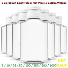 2 oz (60 ml) Empty Clear PET Plastic Bottles W/ Flip Top Caps - 5 to 1000 packs