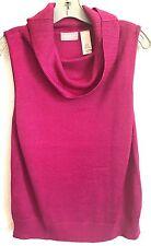 Liz Claiborne Designer Knit Top Sleeveless Cowl Neck Fuchsia  Sz L Women's