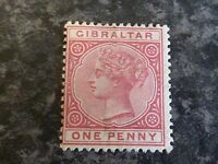 GIBRALTAR POSTAGE STAMP SG9 1D ROSE LIGHTLY-MOUNTED MINT