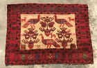 Authentic Hand Knotted Vintage Afghan Balouch Pictorial Wool Area Rug 3 x 2 Ft
