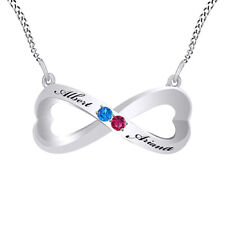 Pink Ruby & Blue Topaz Couple's Infinity Pendant Necklace 14K White Gold Over