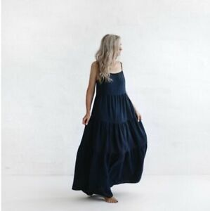 SEASIDE TONES Navy Linen Strappy Maxi Dress - One Size (fits up to a size 12)