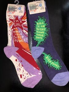 2 PAIR! Brand New BLUE Q WOMEN'S SOCKS: I Am A Girl Super Power And Kale