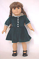 "Doll Clothes 18"" Doll Dress Green Velvet Fits  American Girl Doll Molly 1940"