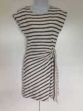Saturday Sunday Anthropologie Cream Navy Striped Wrap Tie Skirt Dress knit XS