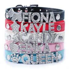 Personalized Bling Rhinestone PU Leather Pet Dog Collars with Free Name Charm