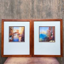 Set of 2 CECIL RICE Prints Matted & Framed Venetian Canal & Grand Canal ~15 X 12