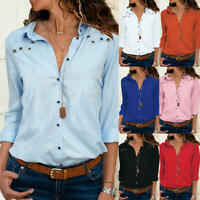 Womens Long Sleeve Blouse Loose Tops Ladies V Neck Office Work Shirts Size 6-18