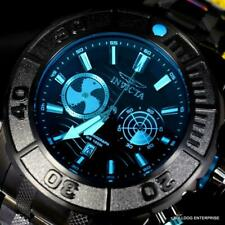 Invicta Coalition Forces Sonar Radar Black Stainless Steel Blue 58mm Chrono New