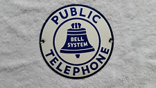 "Vintage Porcelain Bell System Public Telephone No 22 Round Hubcap Curved 7"" Sign"