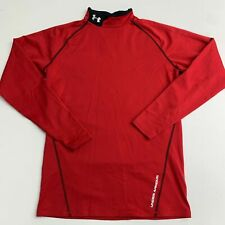 Under Armour Athletic T Shirt Mens MD Red Knit Mock Neck Long Sleeve Fitted