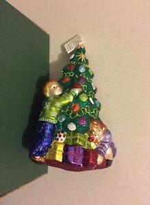 Slavic Treasures Blown Glass Ornament Deck the Halls Christmas Tree