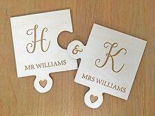 Personalised Engraved Wedding Mr & Mrs Couple Puzzle Shape Coaster Gift Present