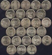26 Coins Peru Nuevo Sol Unc 2010-2016 serie The Wealth and Pride SET FULL