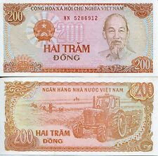 1987 200 Dong Vietnam Ho Chi Minh Communist UNC Mint New Agriculture Tractor