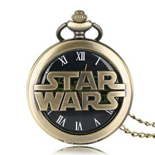 Copper Roman Number Star Wars Women Men Quartz Pocket Watch Necklace Chain Gift