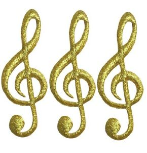 """G Clef Applique Patch - Gold Musical Note, Sheet Music 2.25"""" (3-Pack, Iron on)"""