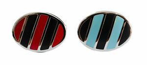 Classic Oval Cufflinks with Diagional Old School Stripes in Blue or Red