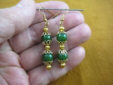 (ee404-5) Green polar jade Canada beaded gemstone dangle earrings 10 mm beads