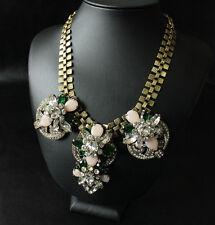 Statement Necklace Gold Floral Green Emerald Beige Art Deco Wedding Retro JCR14