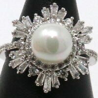 7mm White Akoya Pearl Diamond Paved Halo Ring 14K White Gold Plated Sizable Gift