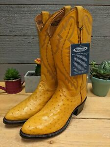 Lucchese 2000 Full Quill Pin Ostrich ButterCup 7.5 EE Men's Cowboy Boots