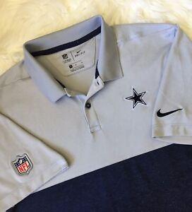 Mens NFL Apparel Nike Dri-Fit Dallas Cowboys Polo Golf Shirt Size M Gray/Blue