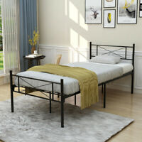 Metal Bed Frame Platform Twin/Full Size Mattress With Foundation Headboard Black