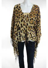 NWT ESCADA Beige Brown Silk Leopard Bronze Studded Tunic Blouse Sz IT 36 $1850