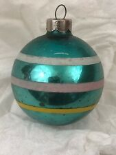 Vtg Mercury Glass Christmas Ball Ornament Blue with Stripes