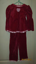 Baby Toddler 24M Sweet Red Pink Velvet Feel Outfit Long Sleeve Shirt & Pants