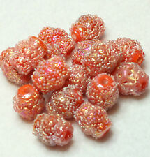 16 FANCY INDIAN GLASS BEADS ORANGE SUGAR FROSTED/AB LANTERN 12 x 10 mm (BBB604)