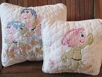 Vintage Snow White Dwarfs Throw Pillows Embroidered Handmade Quilted Set of 2