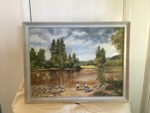 Vintage Landscape Oil Painting On Board Framed And Signed D. Eames