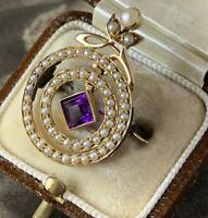 Victorian Edwardian 18ct Gold Amethyst Pearl Brooch Articulated Antique Pin