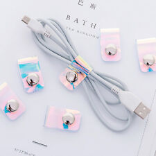 Earphone Cable Winder Wrapped PVC Laser Earpho Protector USBline Phone HoldeI_ES