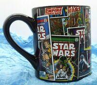 "Star Wars Black Ceramic Coffee Tea Cup With Comic Book Design 4"" Tall"