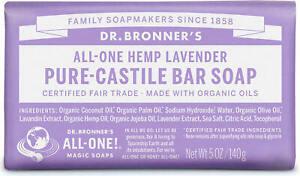 Dr Bronner's / Bronners Hemp Lavender Pure-Castile Magic Bar Soap Organic