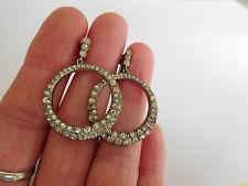 Art Deco / Edwardian circular hoop silver paste set earrings