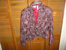 NWT Emma James knit tweed jacket, size 12 petite, reds, white, browns