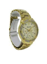 Bulova 98R171 Women's Round Diamond Day & Date Analog Gold Tone Watch
